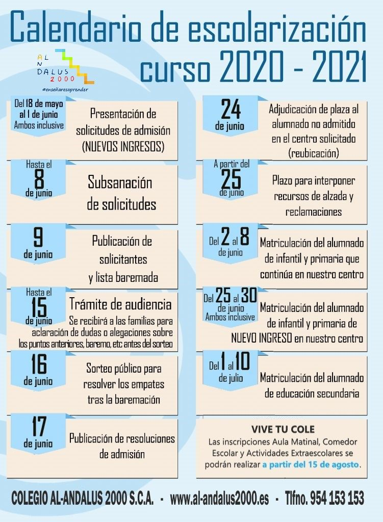 Calendario escolarización